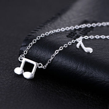 Shiny Stylish Jewelry New Arrival Gift 925 Silver Korean Music Accessory Necklace [8080528263]