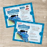 Train Invitation Train Birthday Invitation Ticket Invitations Choo Choo Birthday Trains Party Thomas Invite custom photo boys Locomotive