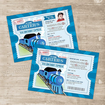 Train Invitation Birthday Ticket Invitations Choo Trains Party Thomas Invite Custom Photo