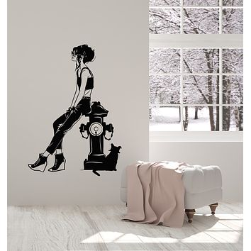 Vinyl Wall Decal Fashion Girl With Cat Sketch Drawing Decor Stickers Mural (g1623)