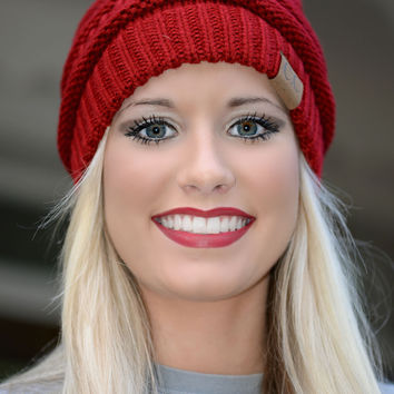 Red Slouchy Knit Beanie