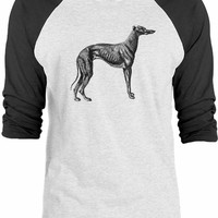 Big Texas Vintage Greyhound Engraving 3/4-Sleeve Raglan Baseball T-Shirt