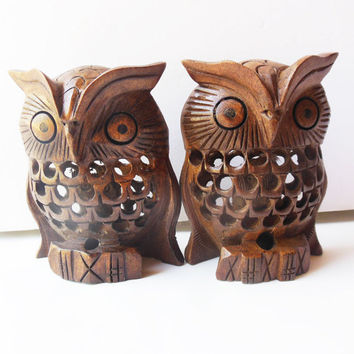 Two Owls hand carved wood