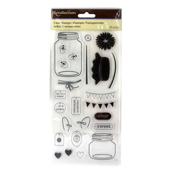 Clear Stamps by Recollections -Mason Jar, Hearts, Cords, Banners, Button, and Tag Stamps - For cardmaking, scrapbooking