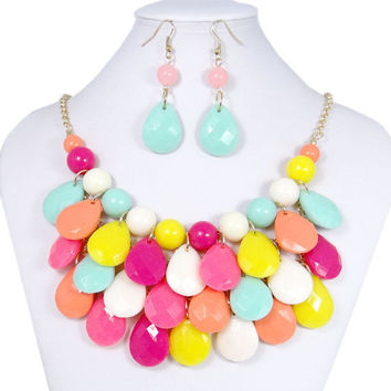 Kate Spade Inspired, Teardrop Necklace, Bib Necklace, Bubble Bib, Gift, Rainbow Necklace, Bridal Jewelry, Mothers day Gift