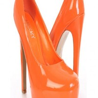 Orange Faux Patent Leather Round Closed Toe Platform Pump Heels @ Amiclubwear Heel Shoes online store sales:Stiletto Heel Shoes,High Heel Pumps,Womens High Heel Shoes,Prom Shoes,Summer Shoes,Spring Shoes,Spool Heel,Womens Dress Shoes,Prom Heels,Prom Pumps