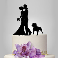 Bride and Groom silhouette wedding Cake Topper dog,  acrylic Wedding Cake Topper, couple,  funny topper, dog topper