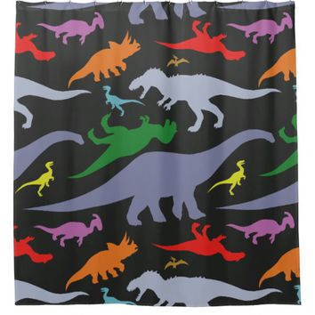 Colorful Dinosaur Pattern (Dark) Shower Curtain