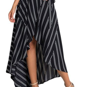 Maxi Long Skirt Striped Print Autumn Summer Women Asymmetrical Wrapped Elegant Casual Skirts