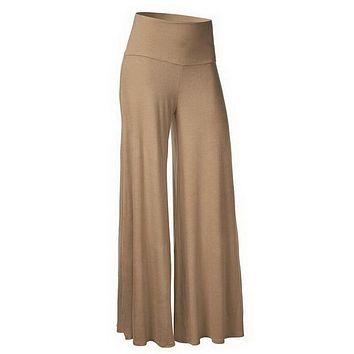 Fashion Long Wide Leg Pants Women Solid Loose High Waist Maxi Pants Summer Casual Pleated Trousers