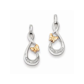 Sterling Silver Rhodium Plated 14k Rose Gold Butterfly Diamond Earrings