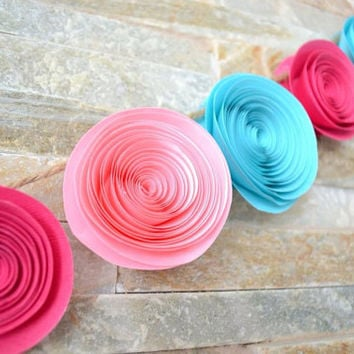 Paper flower garland pink, light red & light blue Wedding, baby shower or baby's room
