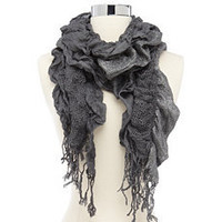 Scrunched Lurex Open-Knit Scarf: Charlotte Russe