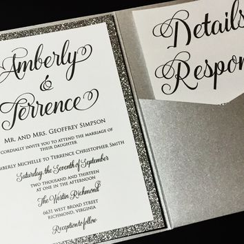 Glitter Wedding Invitation, Pocketfold Wedding Invitation, Calligraphy Wedding Invitation - AMBERLY VERSION