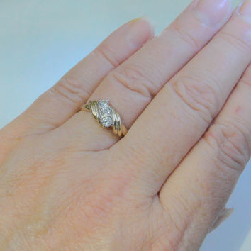 Vintage 10k ring Three Stone Created Diamond Gold Wedding Band Size 8 Affordable Gift Idea