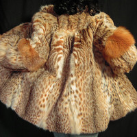 Lynx Bobcat Real Fur Jacket Coat Red Fox Fur Trim Beautiful Avante Garde  (German Furrier)