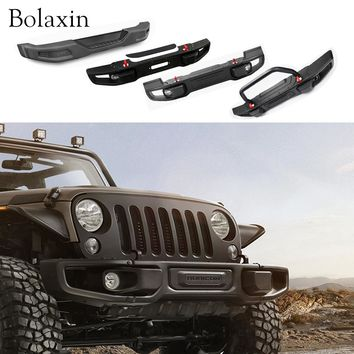 New design Bolaxin Car protection board Front /Rear Offroad Winch Bumper Brush Guard with log light for Jeep Wrangler  2010-2016