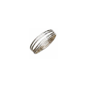 Sterling Silver Hammered Four Band Ring