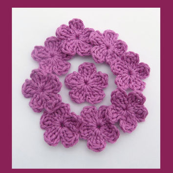 9 small crochet flowers, appliques and embellishments