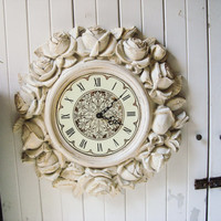 Antique Cream Rose Vintage Clock, Round Ornate Cream and Gold Clock, Shabby Chic Floral Clock, Cottage Chic, Cream Ornate Decorative Clock