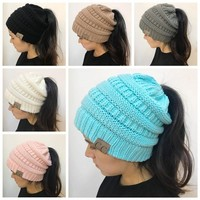 Women CC Ponytail Caps CC Knitted Beanie Fashion Girls Winter Warm Hat Back Hole Pony Tail Autumn Casual Beanies