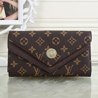 LV Louis Vuitton Women Leather Shopping Fashion Wallet Purse Coffee I