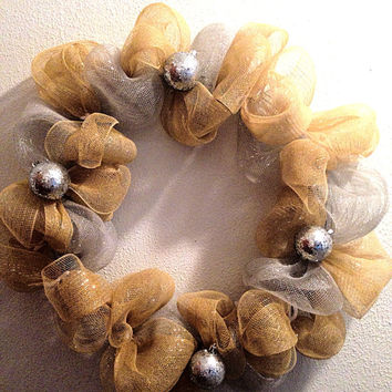 Christmas wreath. Silver and gold deco mesh with by FunWithWreaths