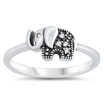 Lucky Elephant CZ Kids or Ladies Ring Size 4-10 in Sterling Silver