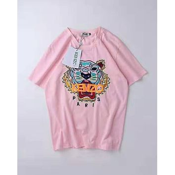 KENZO 2019 new embroidered tiger head men and women models round neck pullover half sleeve t-shirt pink