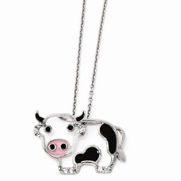 "Sterling Silver CZ Enamel Cow 18"" Necklace"