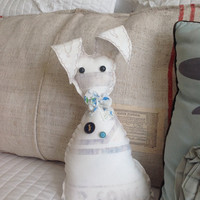 White rabbit feedsack Easter bunny, farmhouse bunny, rabbit shelf sitter
