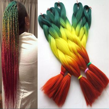 "24"" GREEN YELLOW ORANGE Ombre Kanekalon Braiding Hair"