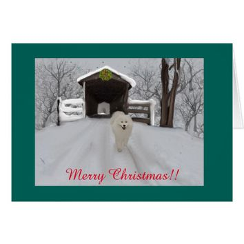 "Samoyed Christmas Greeting Card, 7"" X 5"" Card"