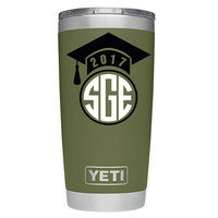 YETI 20 oz Graduation Circle Monogram on Olive Green DuraCoat Graduation Tumbler