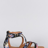 Women's Qupid Floral Strappy Thong Flat Sandal