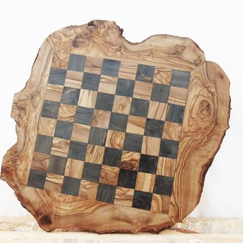 Grandpa Gift, Custom Olive Wood Chess Board, Wooden Chess Set Game, Dad gift, Birthday Gift