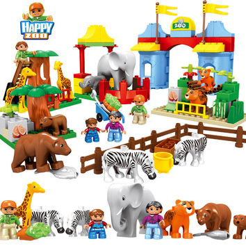 Large Size Zoo Animal Building Blocks Compatible with legoe duplos 92pcs Classic Toys Educational Baby Toy Gifts