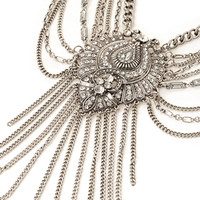 Rhinestone & Fringe Statement Necklace