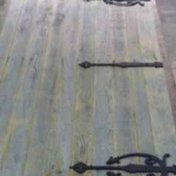 Sliding Barn Doors - Antique Reclaimed Wood - Weathered Gray with Black Straps 72 X 103 (Pair)