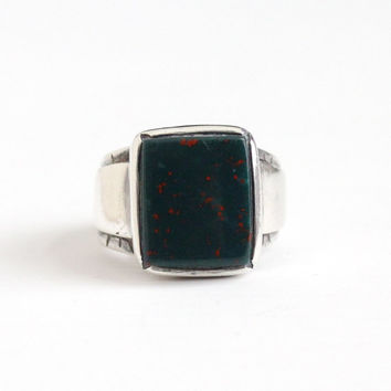 Vintage Sterling Silver Bloodstone Gem Ring - Men's Retro Size 9 1/2 Dark Green Red Genuine Heliotrope Gemstone Statement Heavy Jewelry