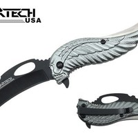 "Wartech YC-S-8376-GY 8"" Assisted Open Folding Tactical Pocket Knife with Grey Skull Angel Design Handle"