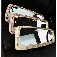 unique girl gift rhinestone Bling Car Accessories for women Car rear view mirror purple pink clean crystal