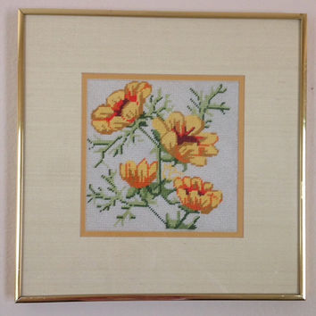 Yellow Flower Vintage Handmade Needlepoint Framed- 1970's