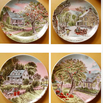 Vintage Currier and Ives Four Season Plate Collection Japan