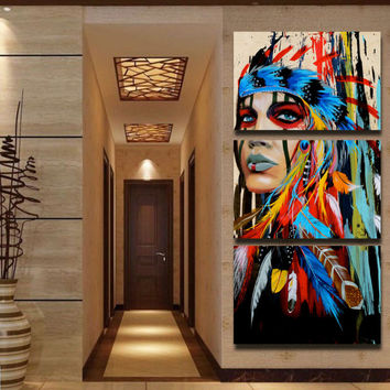 Beauty Painting Native American Indian Art Girl Feathered Women Modern Home Wall Art Decor Canvas Print Painting dropship