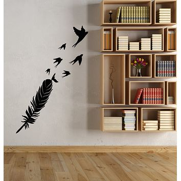 Vinyl Wall Decal Quill Pen Flock Of Birds Feather For Writer Stickers (3873ig)