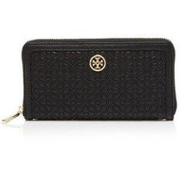 Tory Burch Wallet Bloomingdale's Exclusive Quilted Zip Continental Black Leather Wallet New