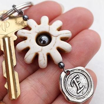 ONE WEEK SALE Monogram Keychain, Power Gear Wheel, Initial Keychain, Personalized Keychain, Wax Seal, White Turquoise, Gift for man, Enginee