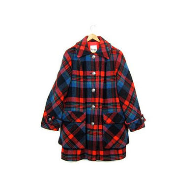Vintage Plaid Wool Winter Coat 1960s Red Black Blue Hunting Coat Preppy Button Up 60s Mod Penguin Coat Boho Modern Womens Medium