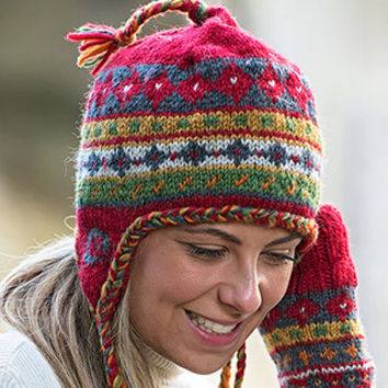 Winter Wear, Earflap Hat with snug fleece lining. 100% Alpaca wool, multi-color braided border and tassels.